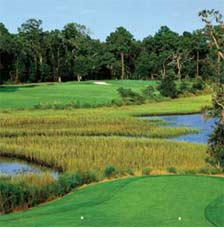 picture of a golf green across a marshy area in The Plantation At Stono Ferry's The Links at Stono Ferry golf course